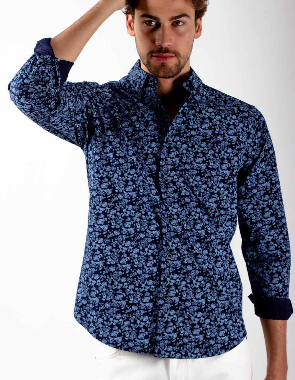Navy blue shirt flower print