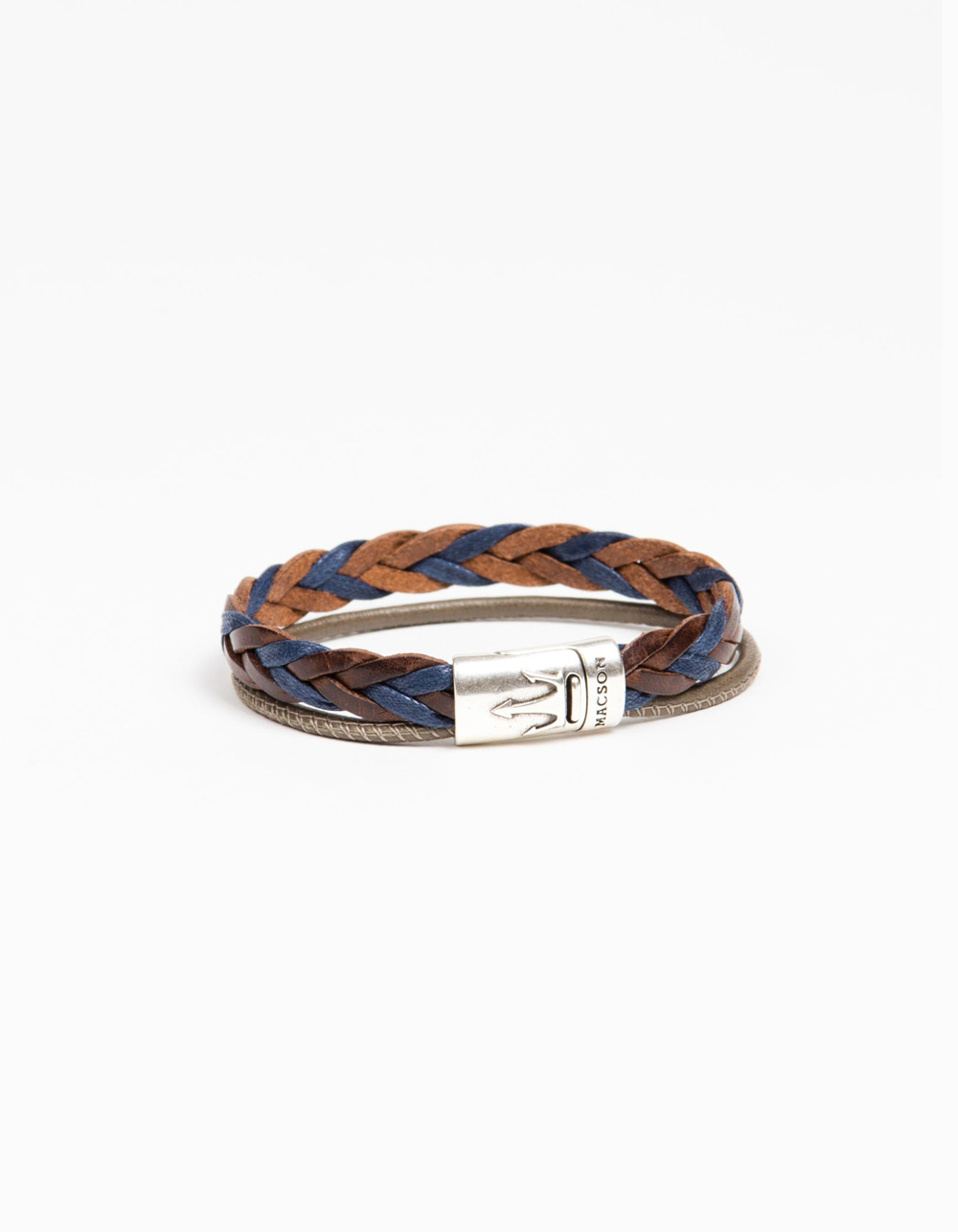 Blue and brown double bracelet