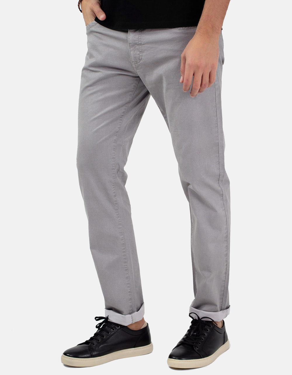 Grey micro-structure trousers