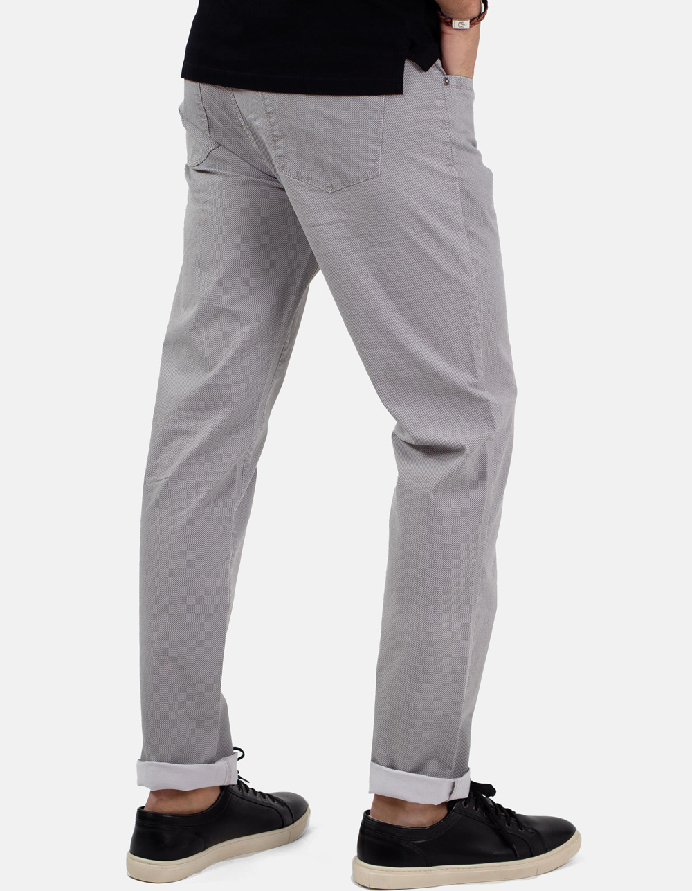 Grey micro-structure trousers - Backside