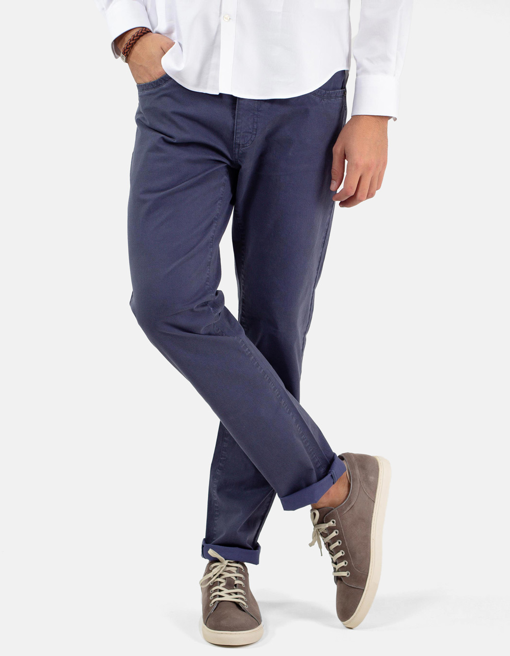 Blue micro-structure trousers