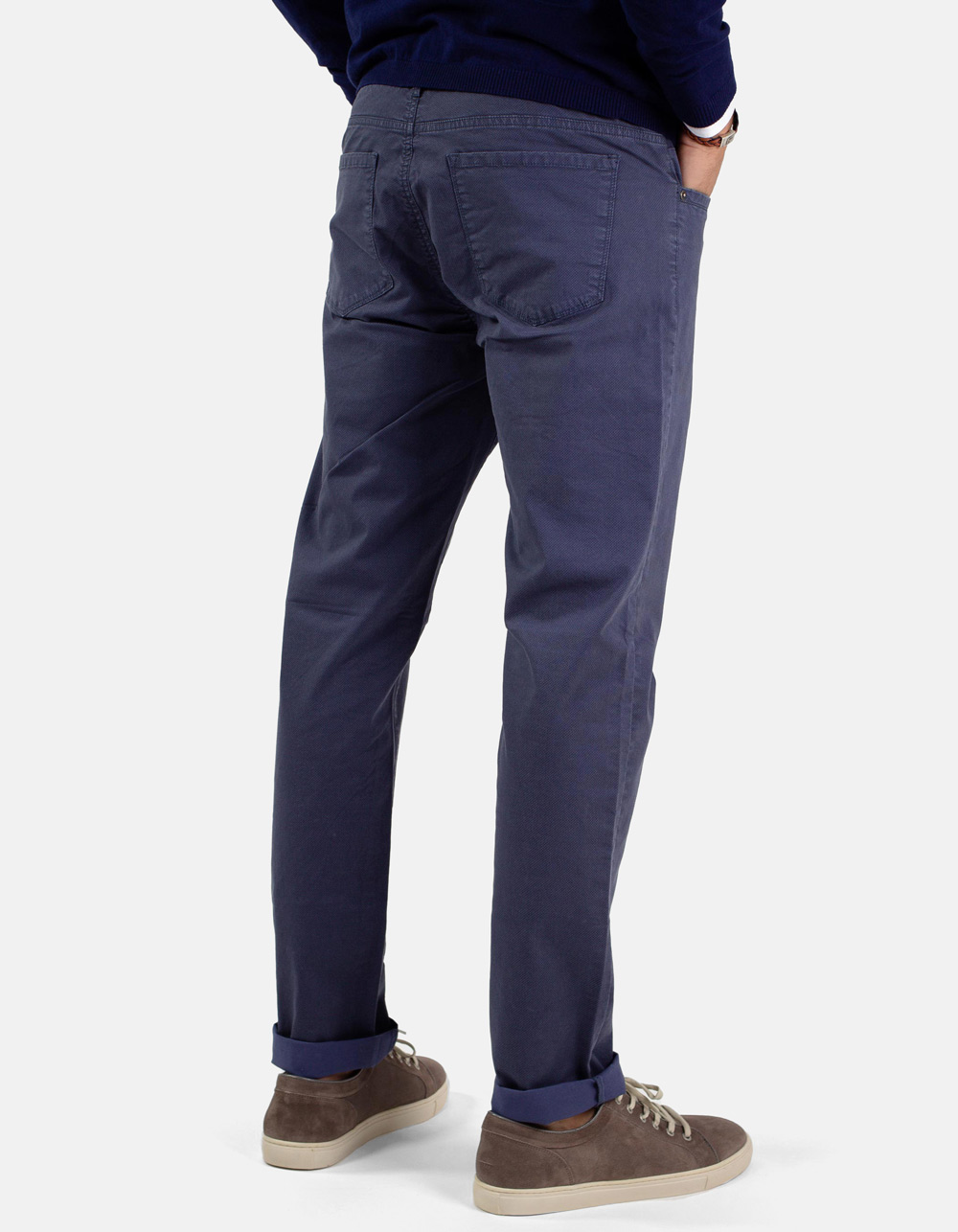 Blue micro-structure trousers - Backside