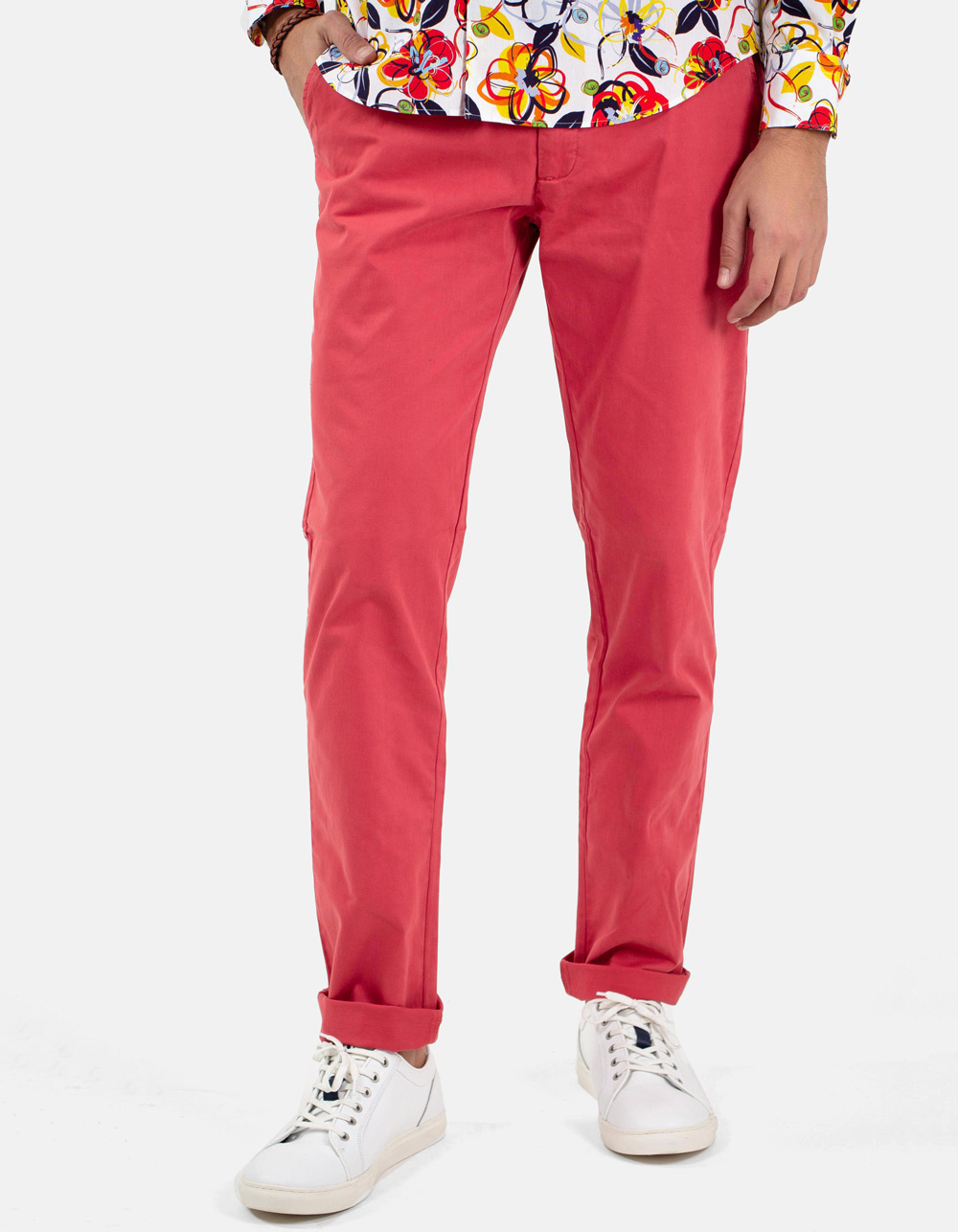 Coral chinos trousers