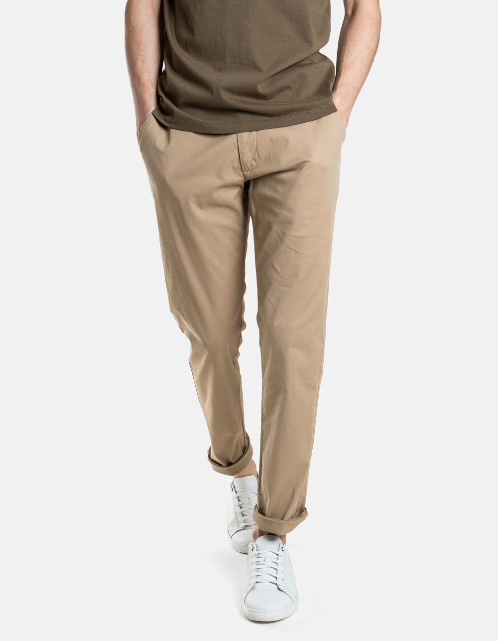 Beige micro-stripes trousers