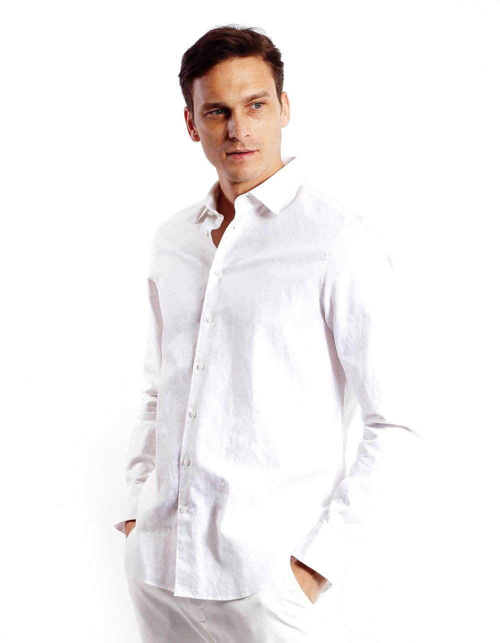 37358d84ec ... Camisa de lino algodon Blanca ...