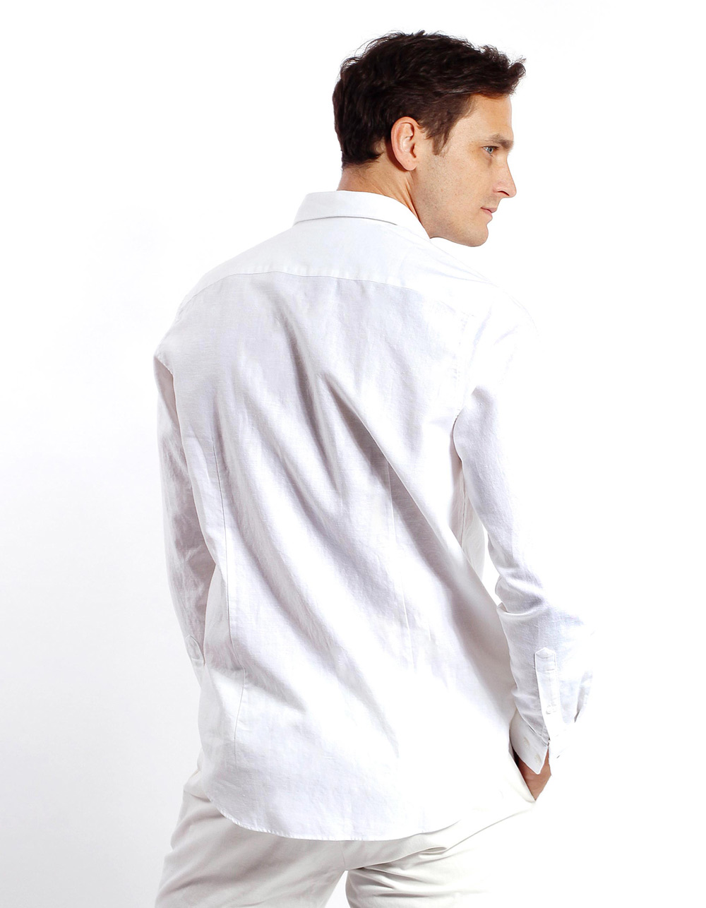 Camisa de lino algodon Blanca - Backside