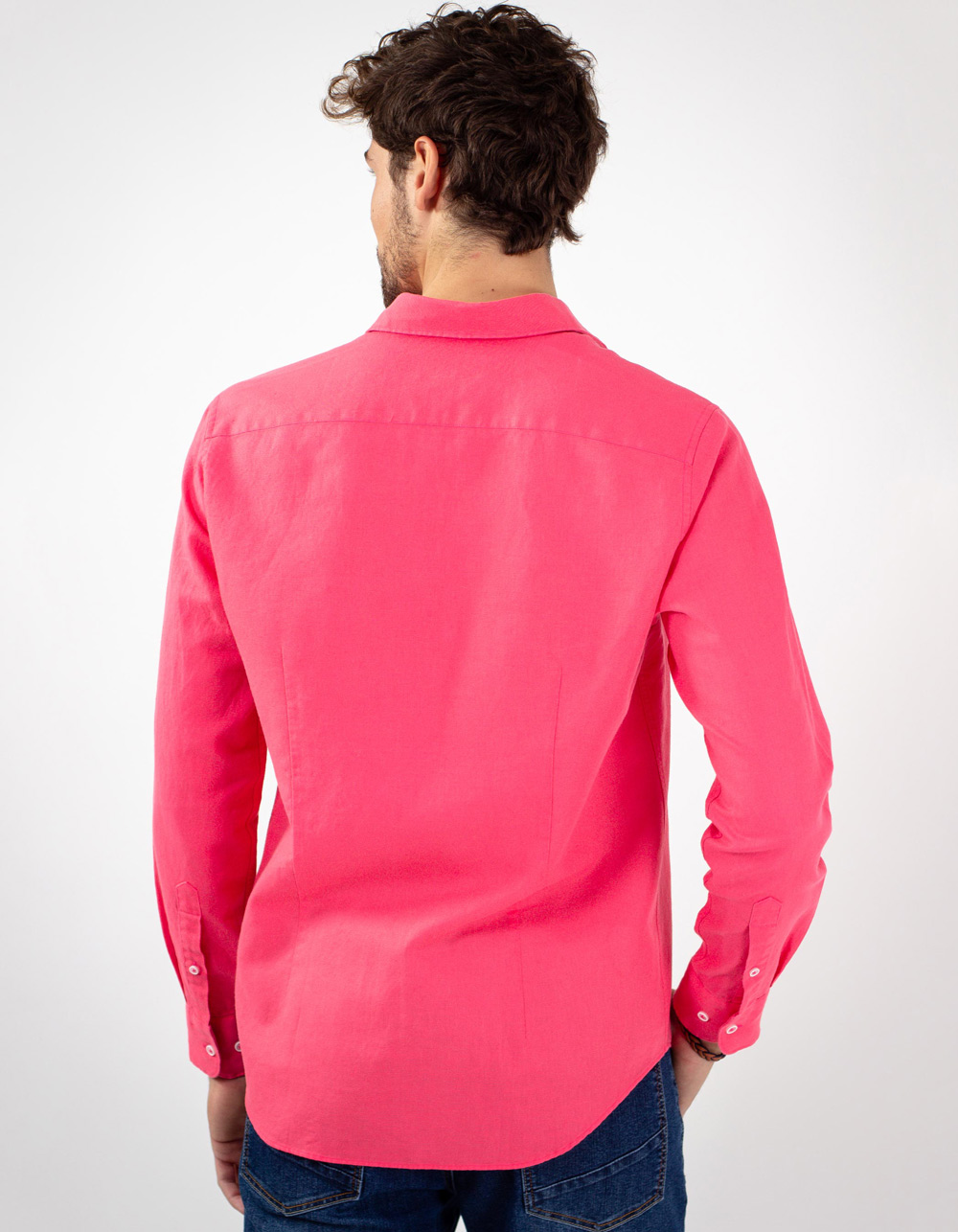 Camisa de lino algodon coral - Backside