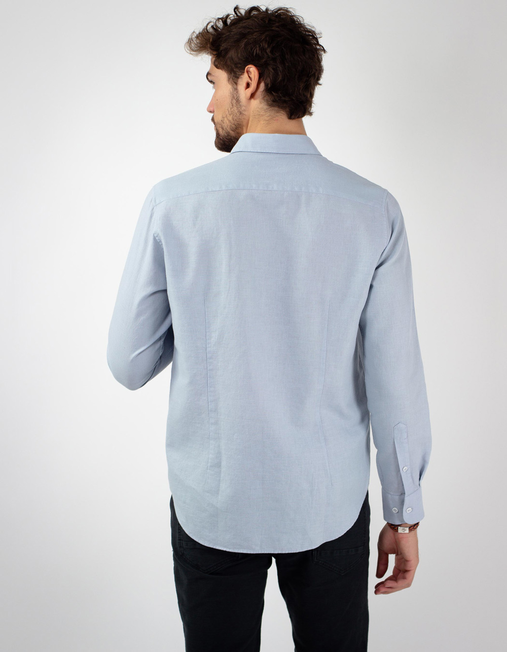 Camisa de lino algodon azul - Backside