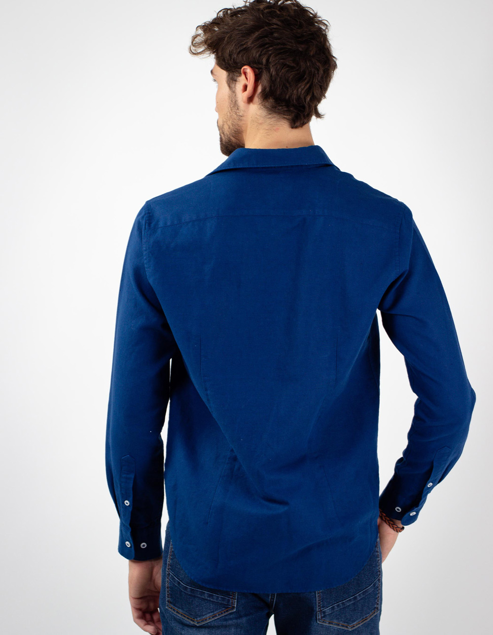 Camisa de lino algodon marino - Backside