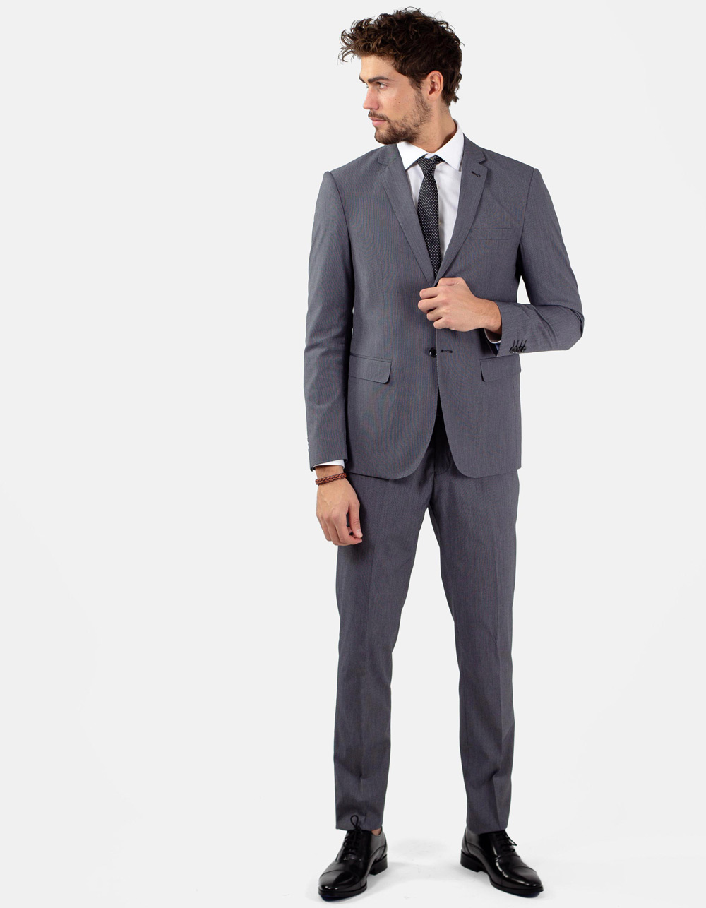 Black micro stripe suit