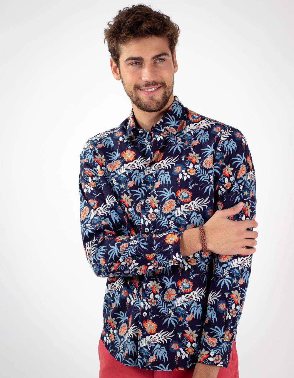4e442d313b ... Camisa marino estampada floral ...