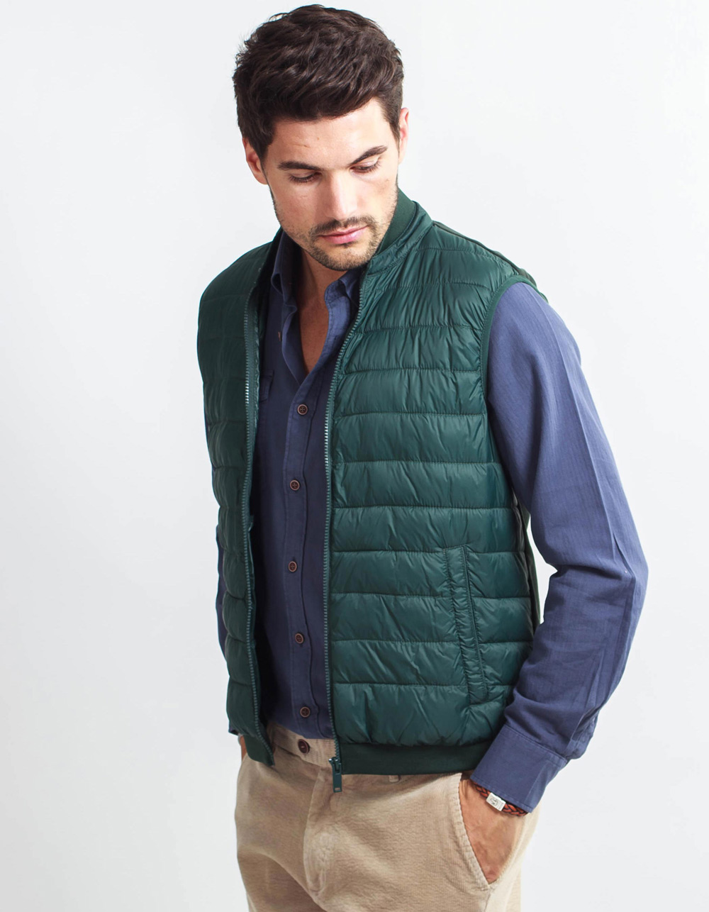 Green vest front part padded back part of point