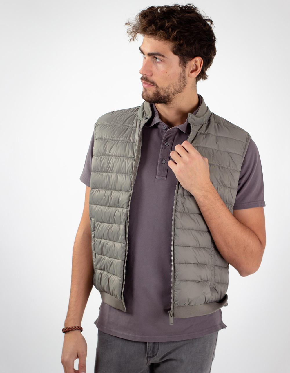 Grey vest front part padded back part of point