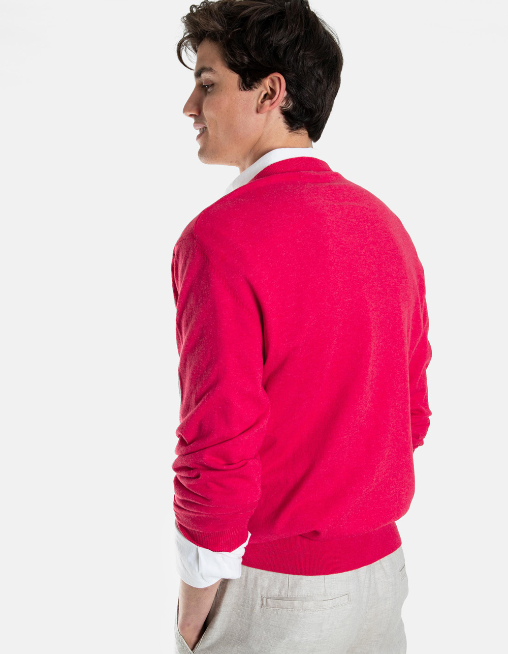 Coral BASIC v-neck sweater - Backside