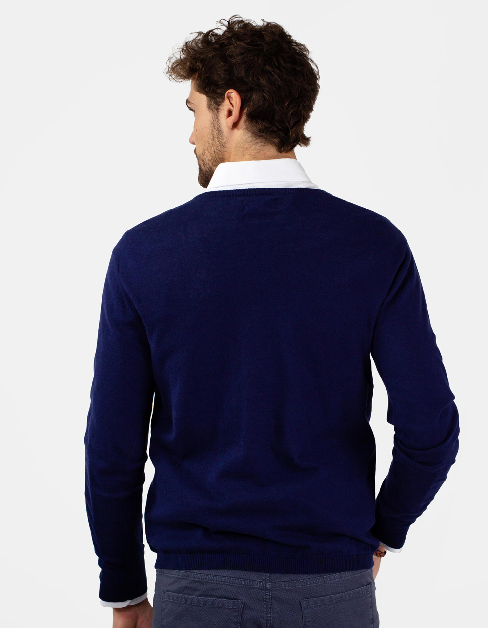 Jersey de cuello pico azul - Backside