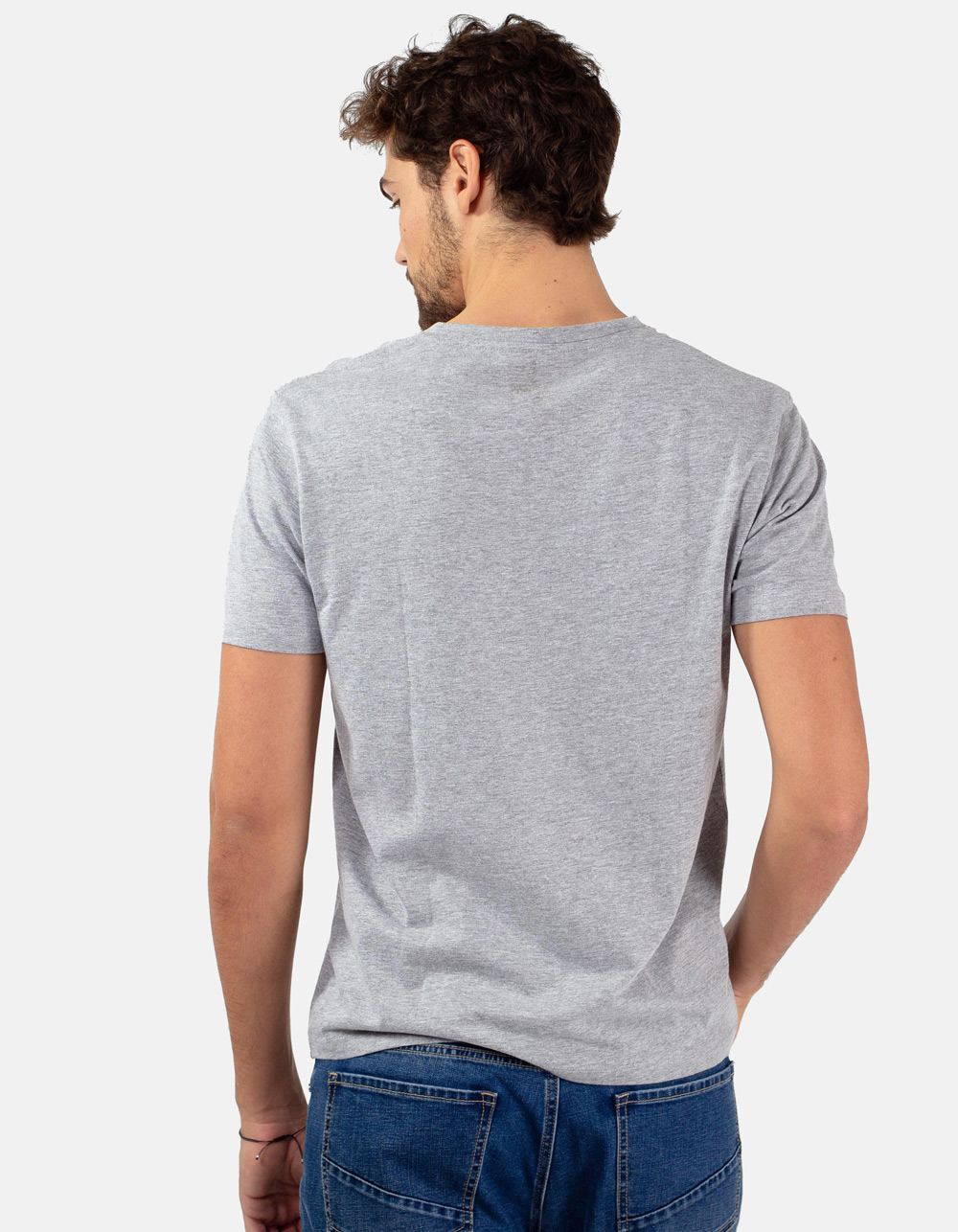 Grey round collar t-shirt - Backside