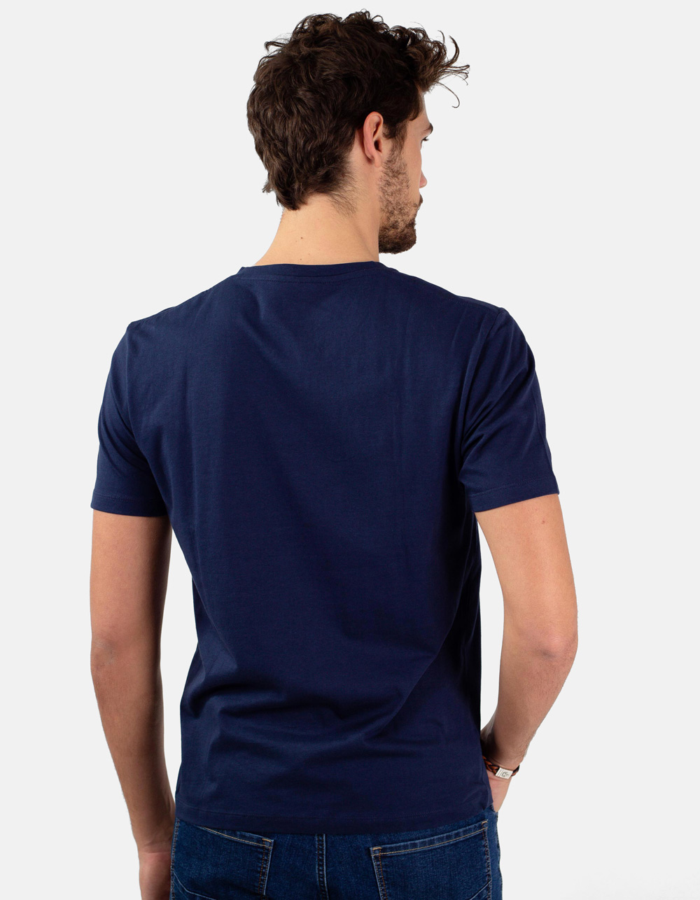 Navy round collar t-shirt - Backside