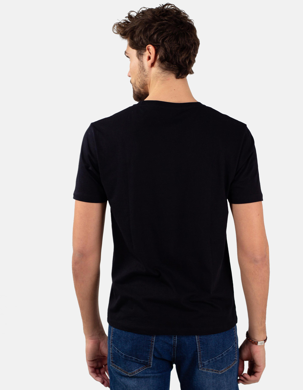 Black round collar t-shirt - Backside