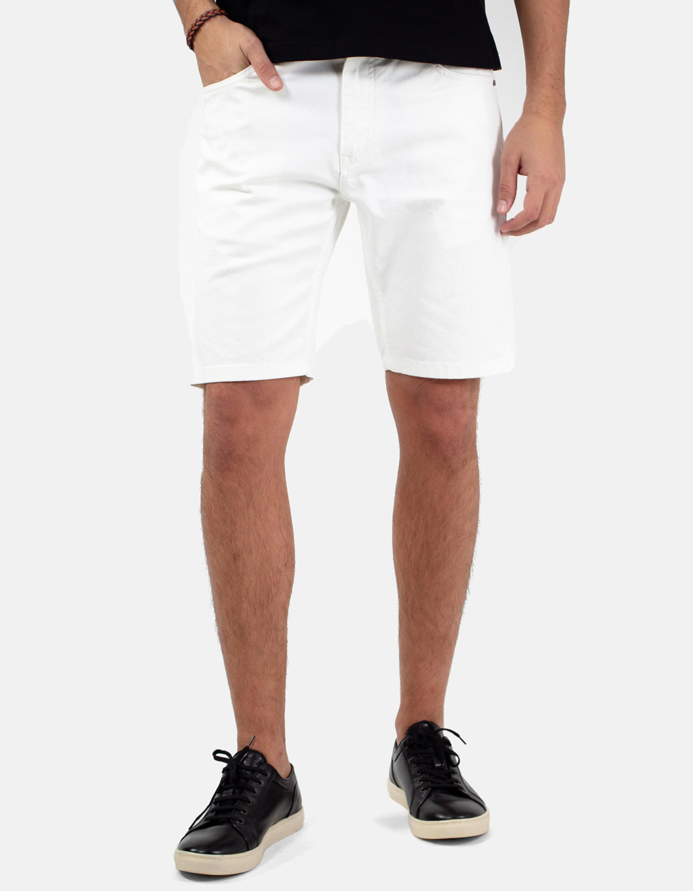 White 5 pocket denim bermuda