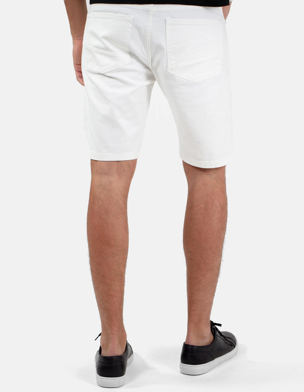White 5 pocket denim bermuda - Backside