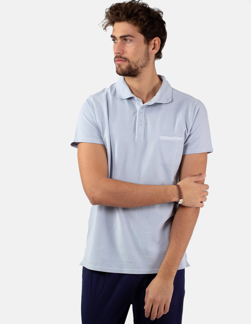 Light blue pocket piqué polo