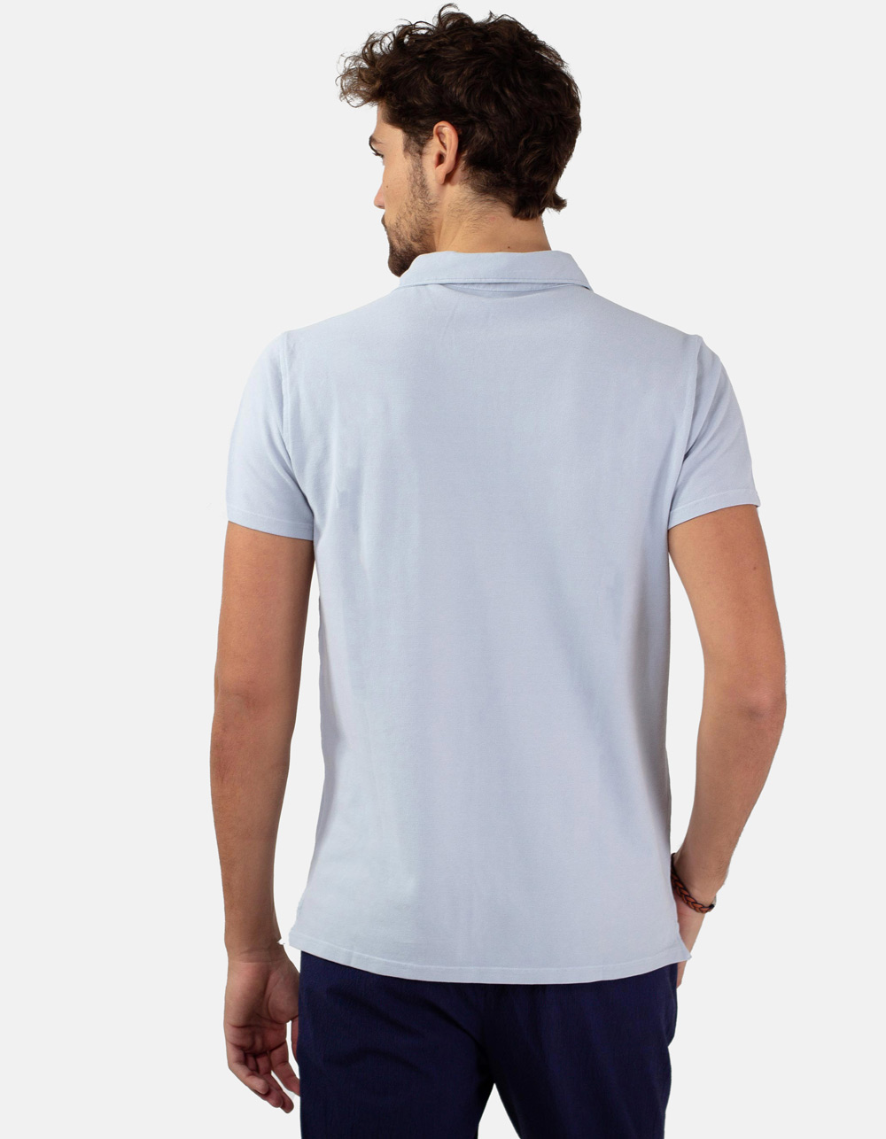 Light blue pocket piqué polo - Backside