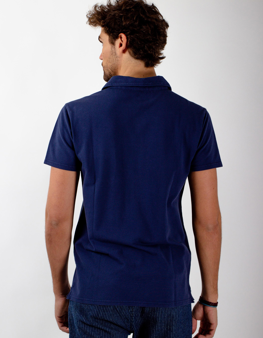 Indigo pocket piqué polo - Backside