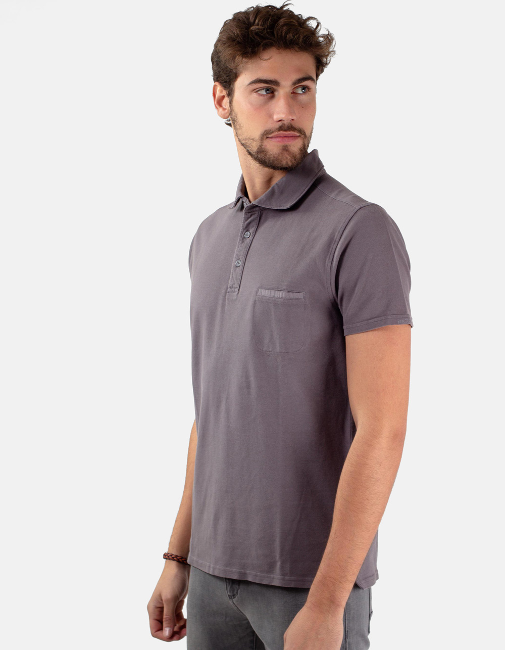 Grey pocket piqué polo