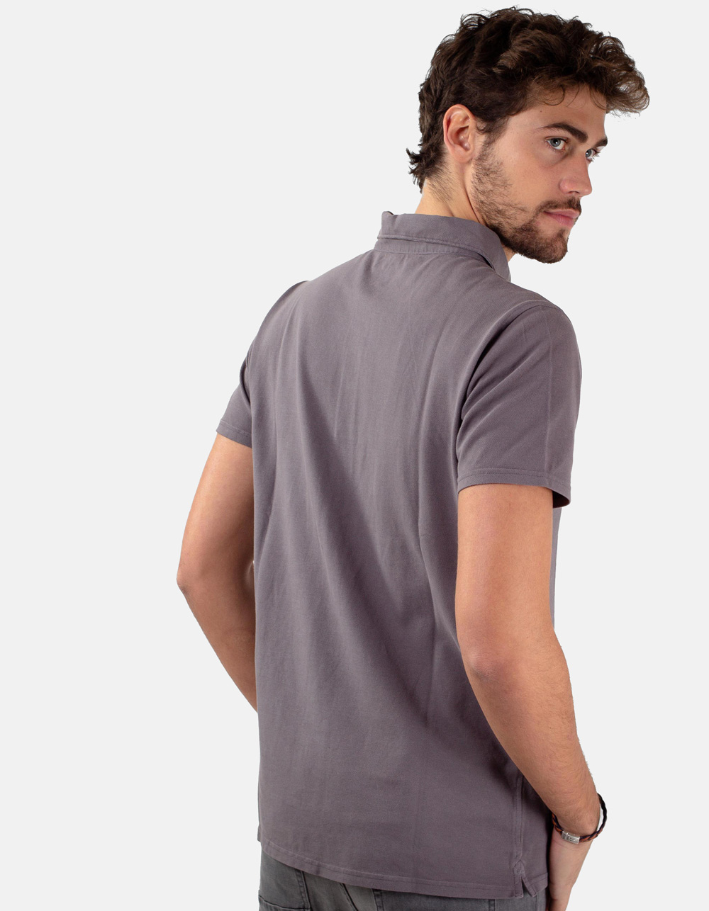 Grey pocket piqué polo - Backside
