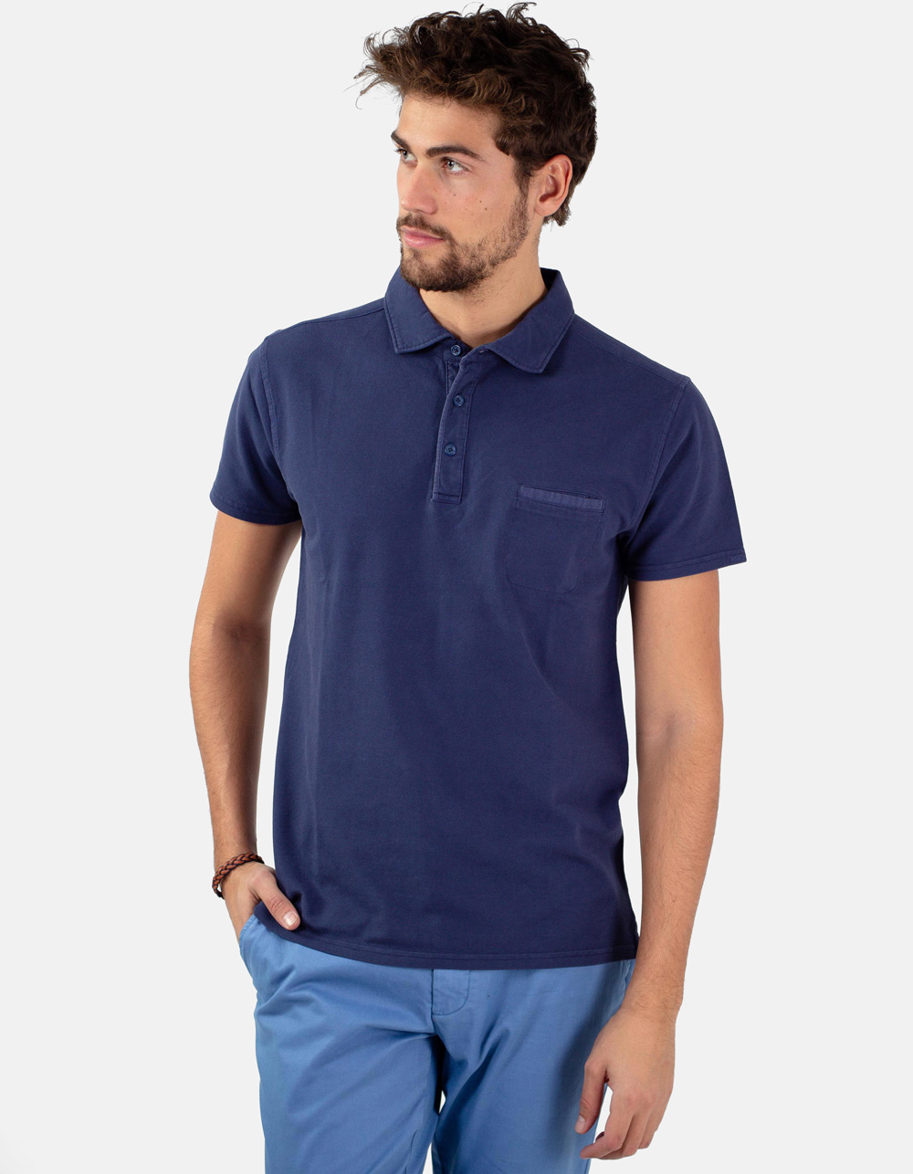 Navy pocket piqué polo