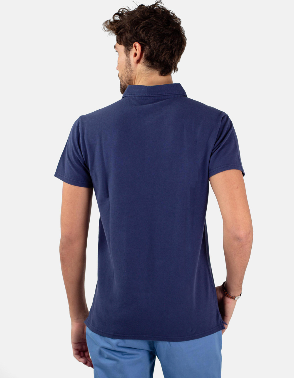 Navy pocket piqué polo - Backside