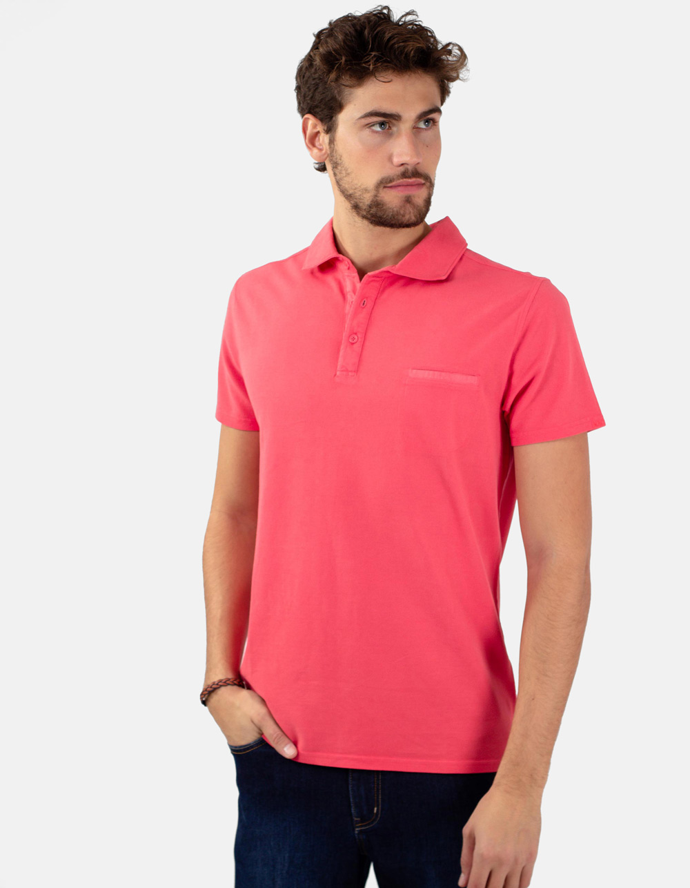 coral pocket piqué polo