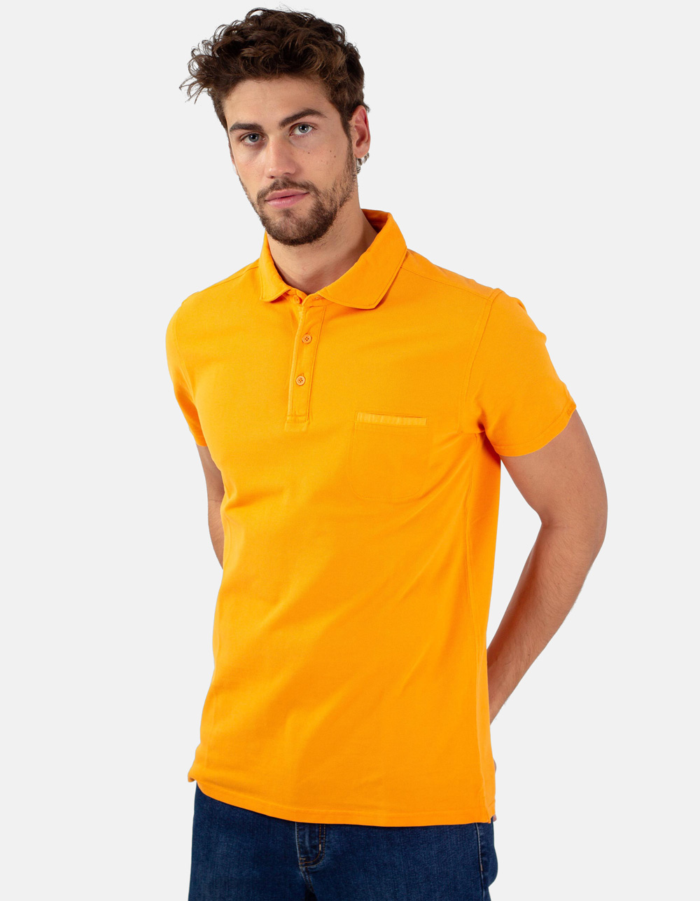 Orange pocket piqué polo