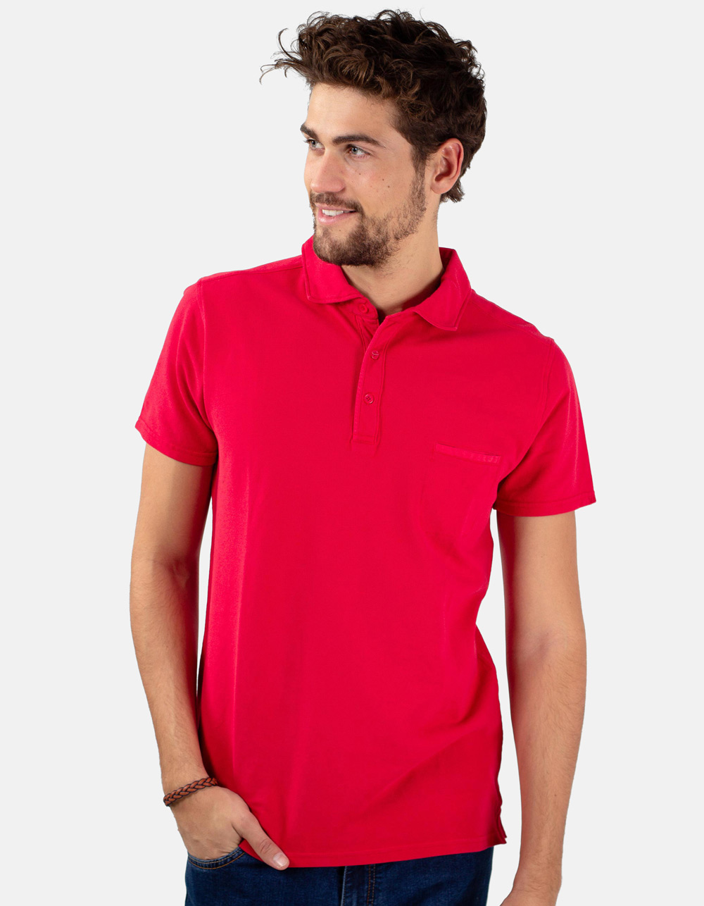 Red pocket piqué polo