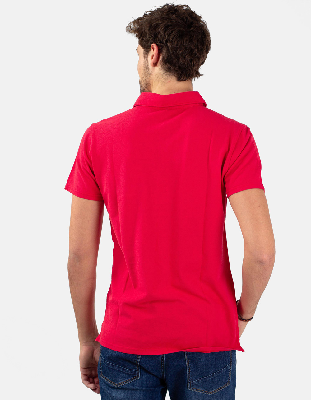 Red pocket piqué polo - Backside
