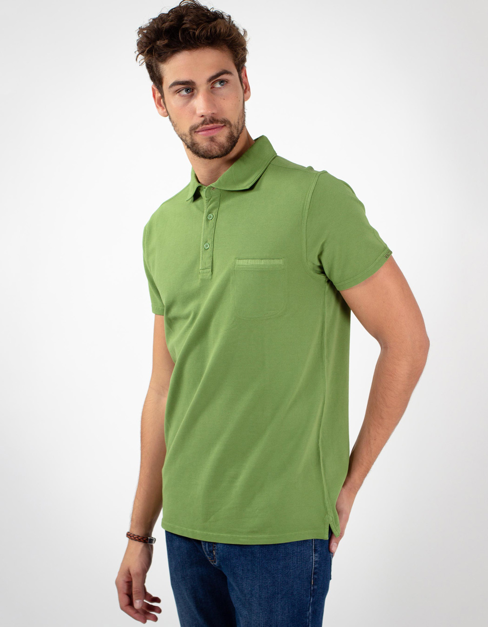 Green pocket piqué polo