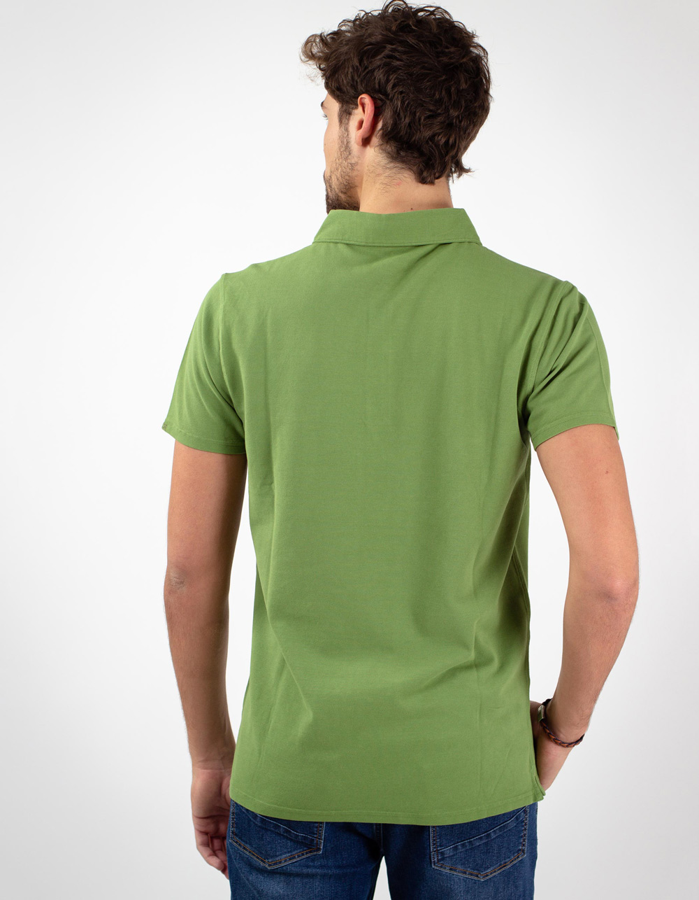Green pocket piqué polo - Backside