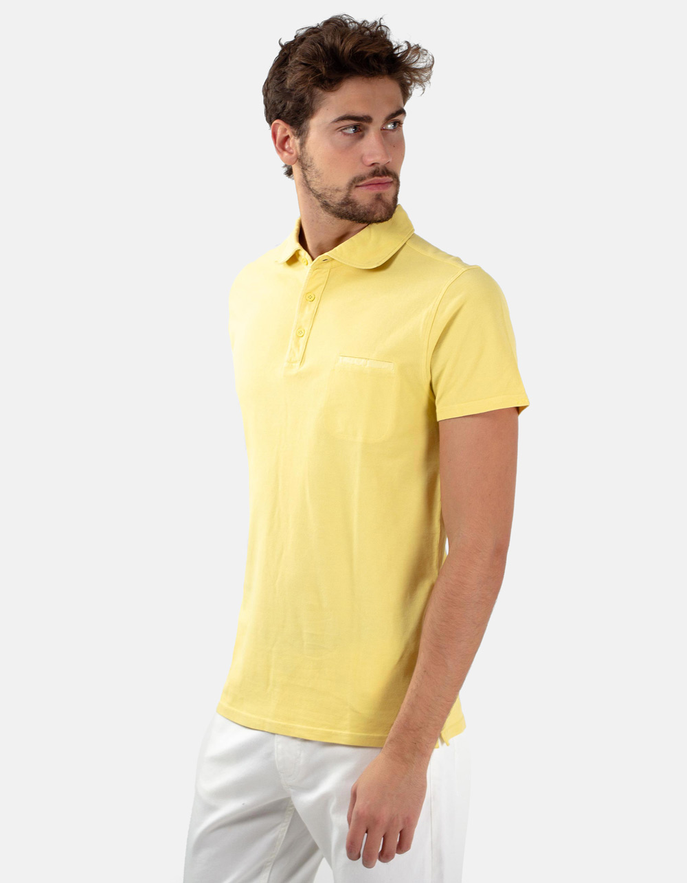 Yellow pocket piqué polo