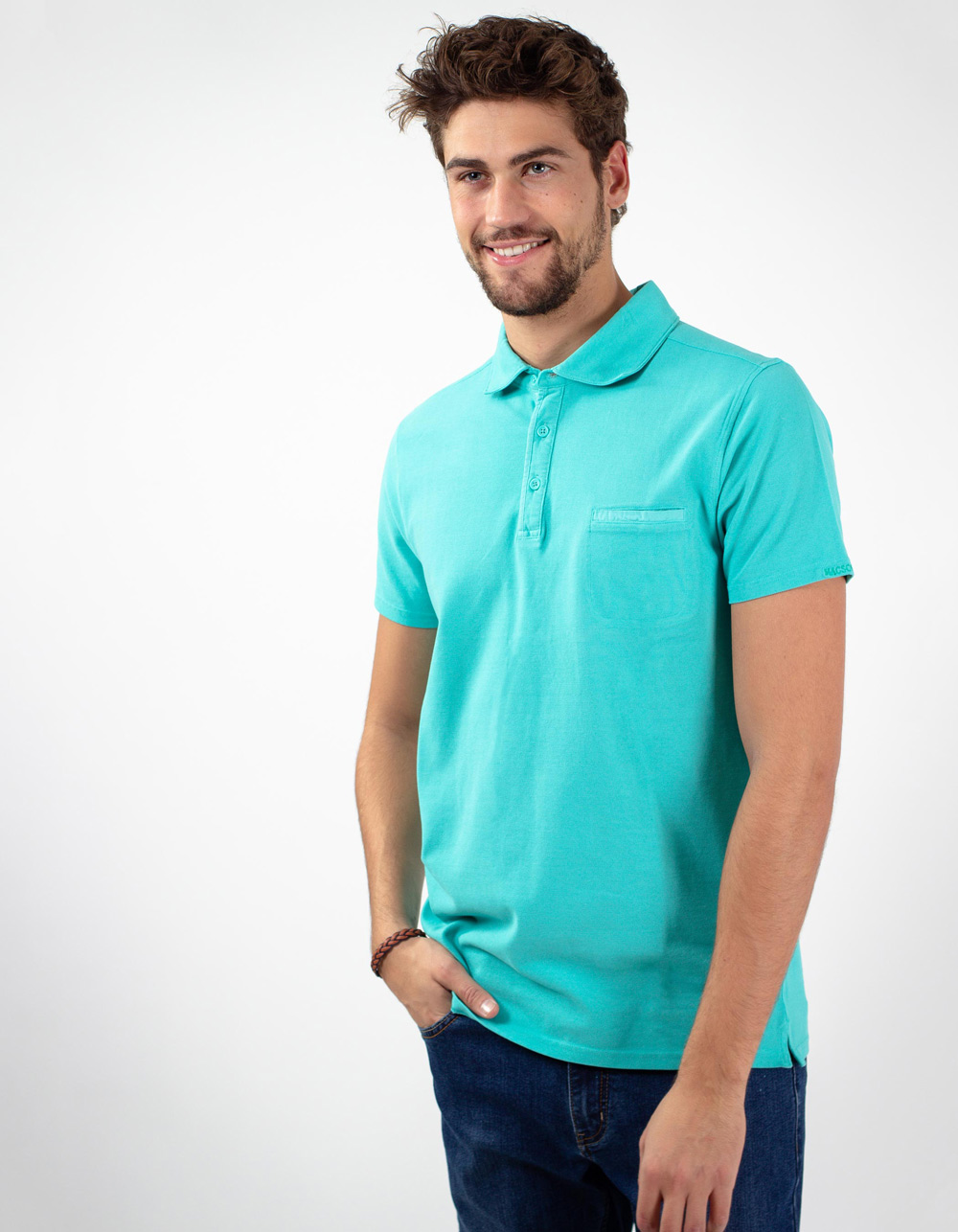 Waterfall pocket piqué polo