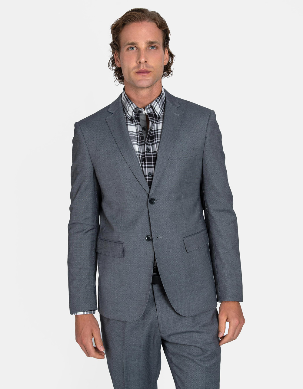 Light grey birdseye suit