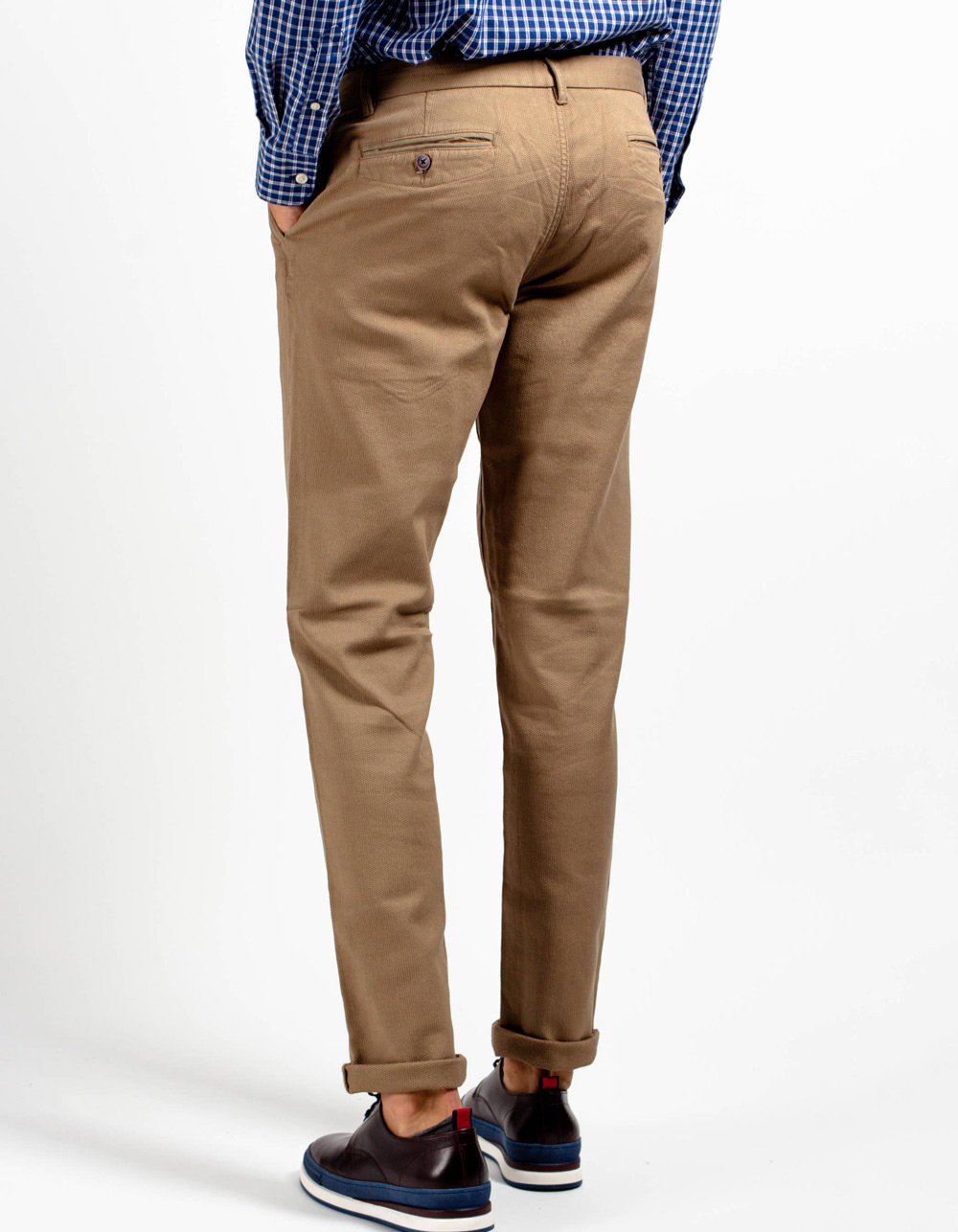 Beige micro-structure pant. - Backside