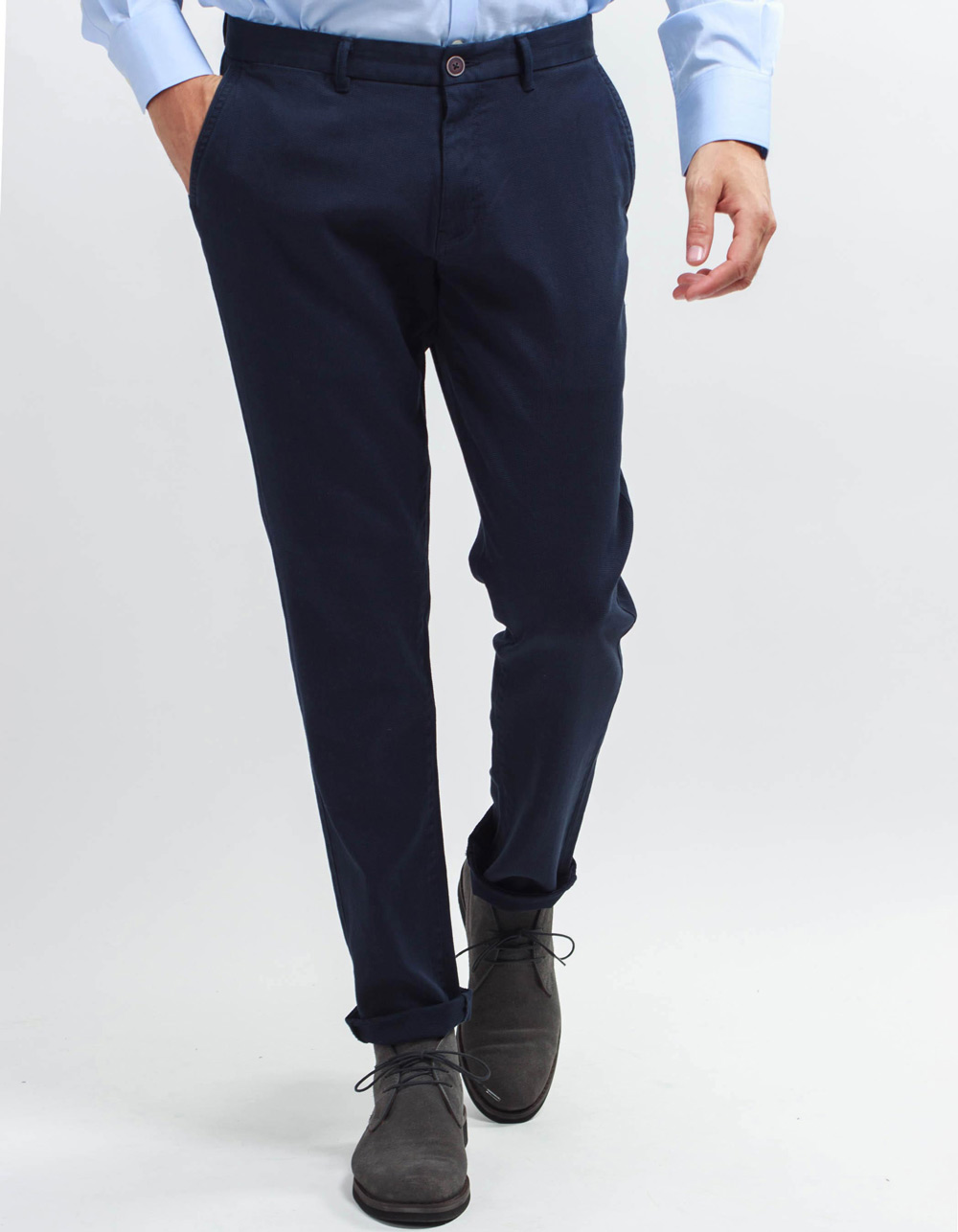 Navy micro-structure pant.