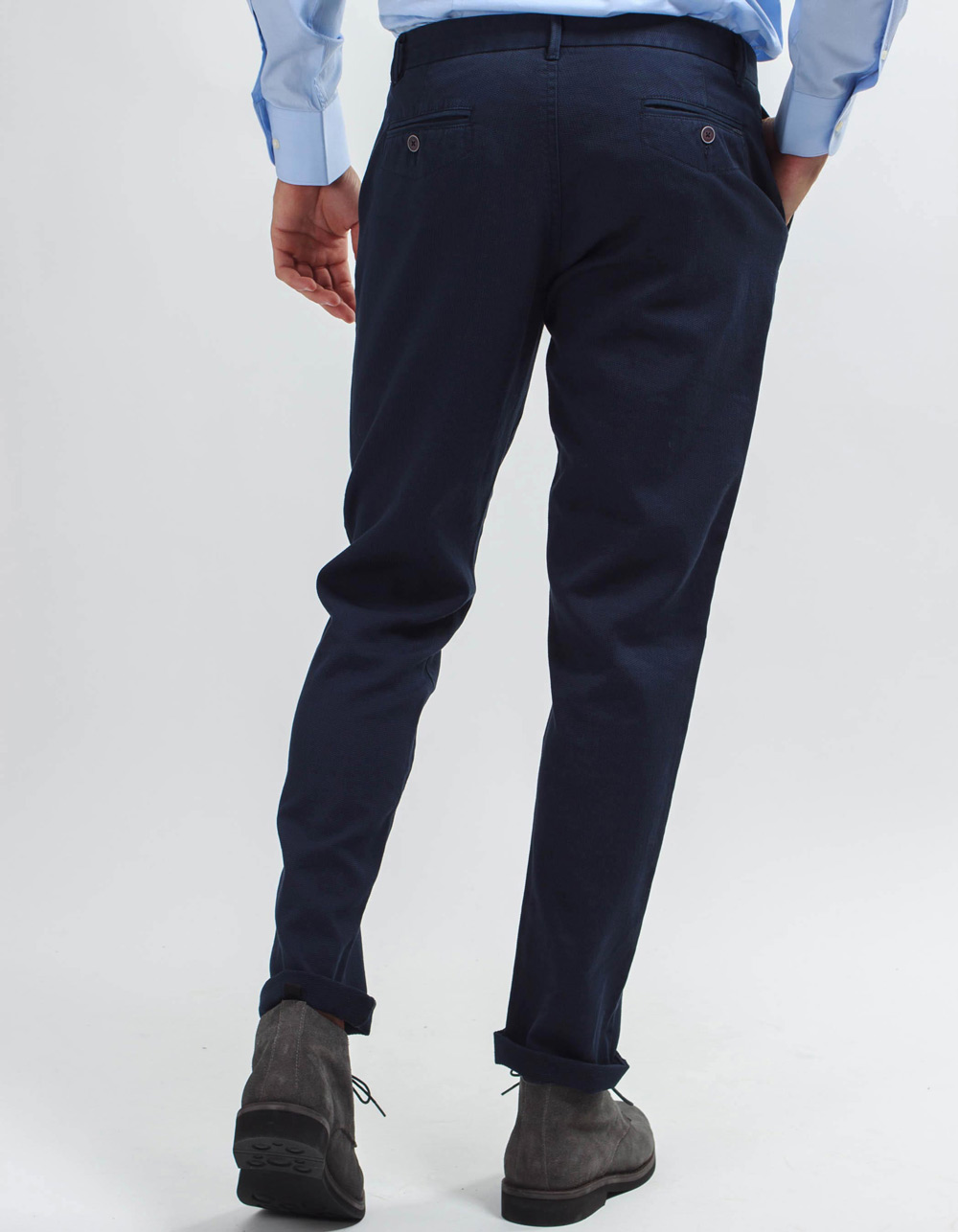 Navy micro-structure pant. - Backside