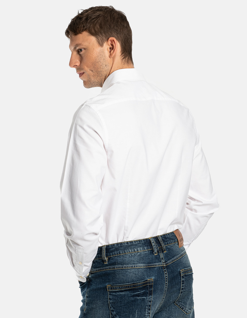 White plain Oxford shirt - Backside