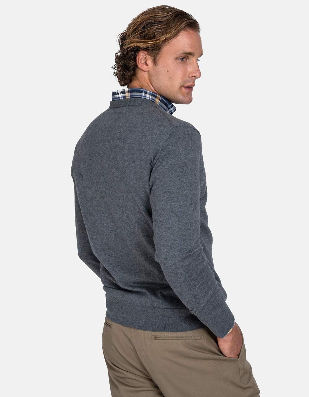 Grey v-neck sweater - Backside