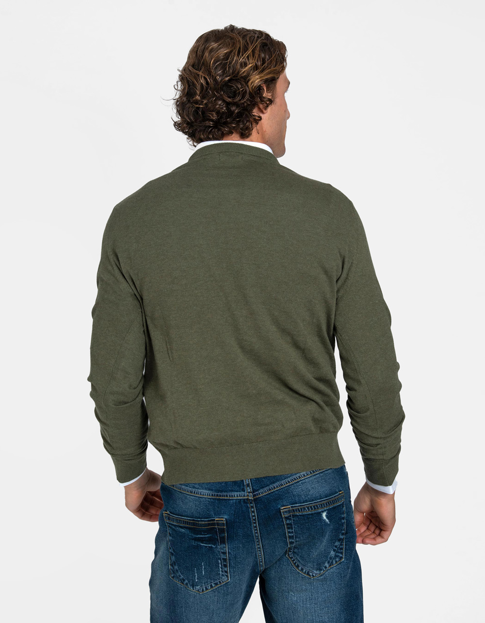 Green v-neck sweater - Backside