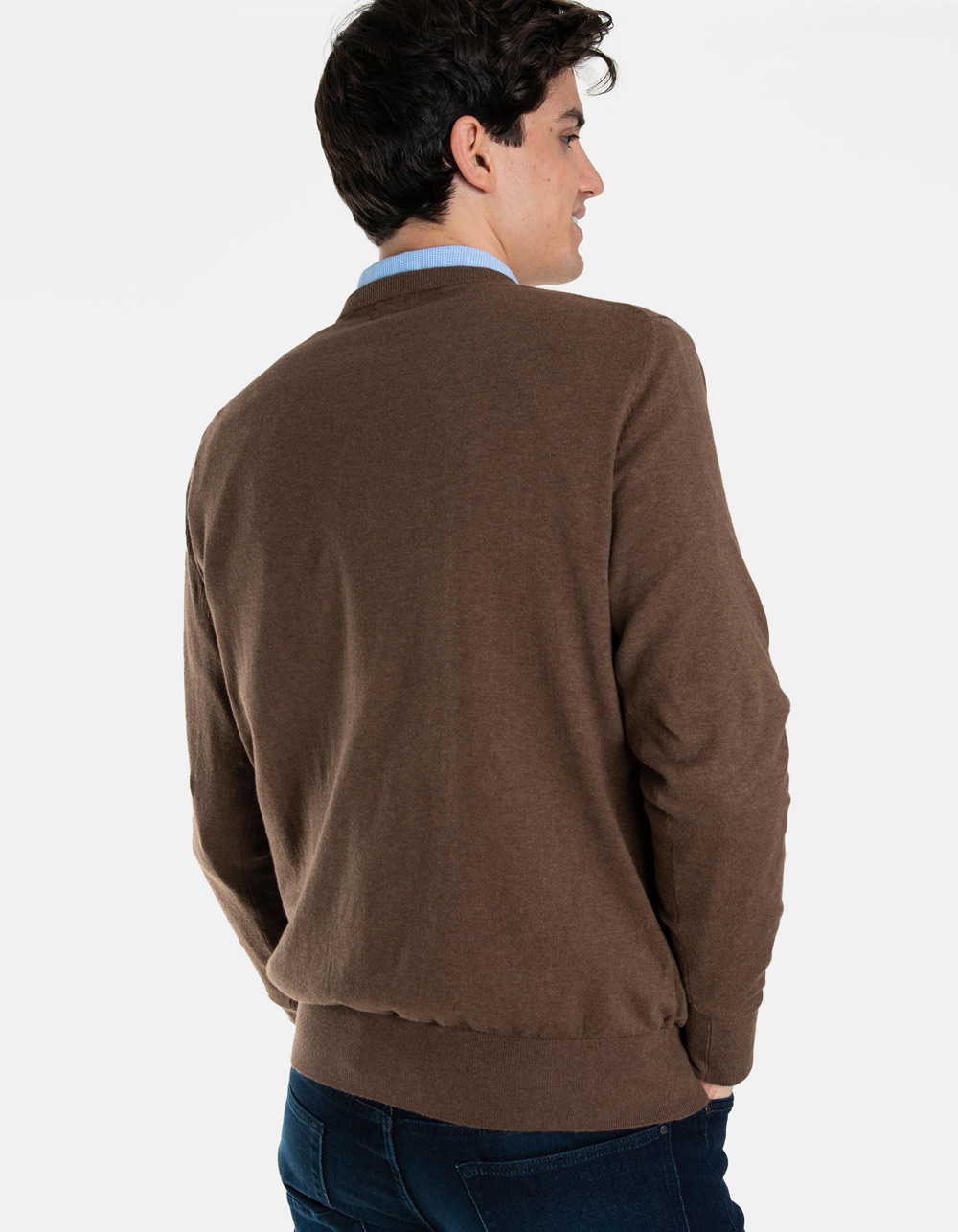 Brown v-neck sweater - Backside