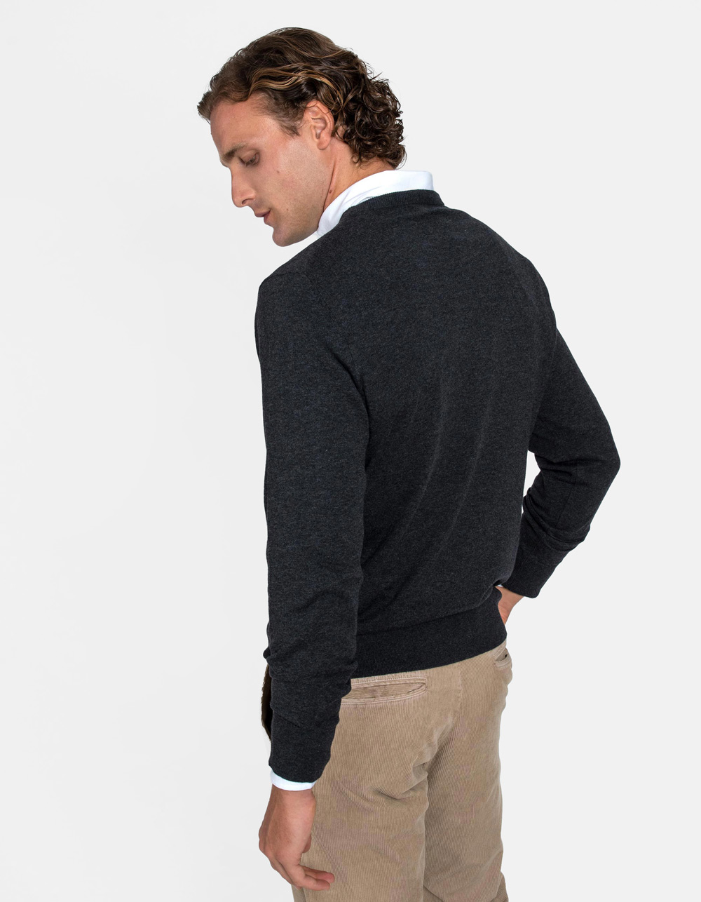 Charcoal crew neck sweater - Backside