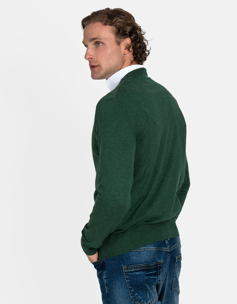 Green crew neck sweater - Backside