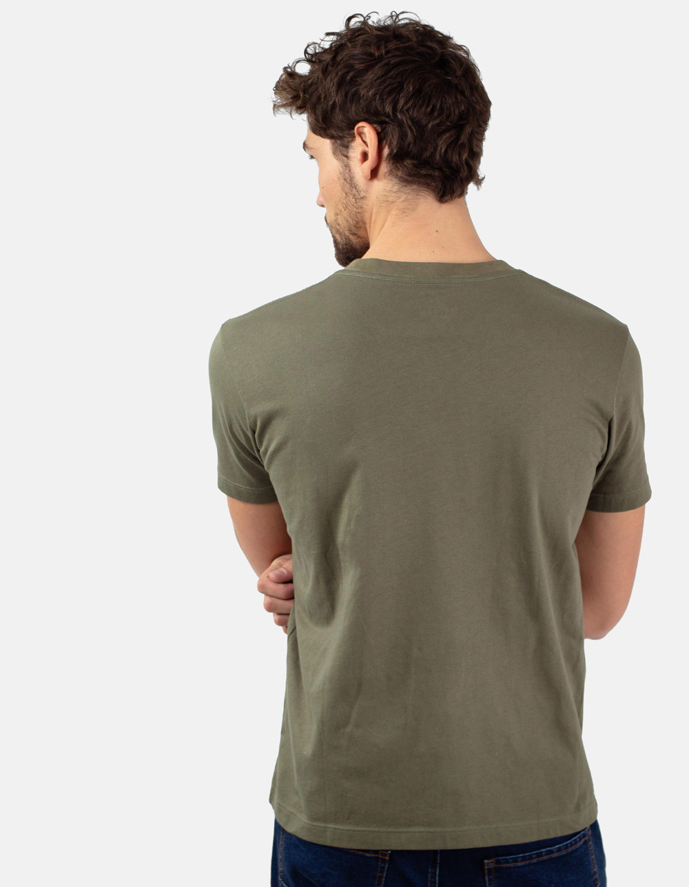 Green t-shirt with printed letters. - Backside